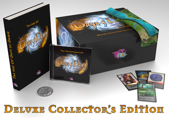 The Deiuxe Collector's Edition comes limited to 100 copies with a beautiful cloth map, an embossed Days of Dawn coin, the original Days of Dawn cardgame and much, much more (see right)