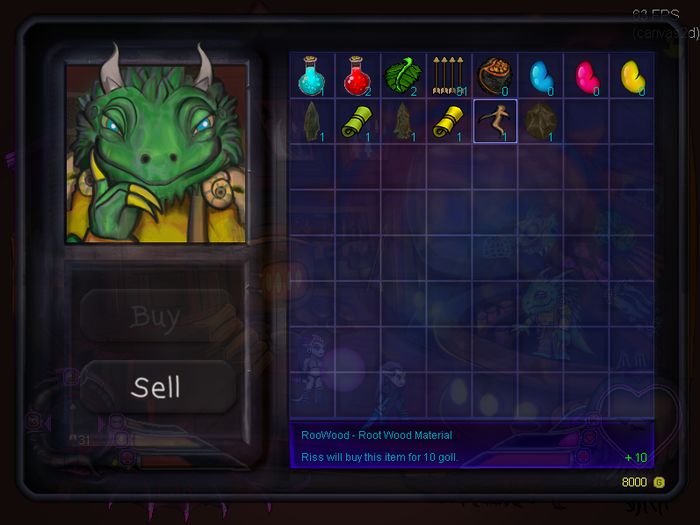 Sell treasure to Riss to buy items and swords.