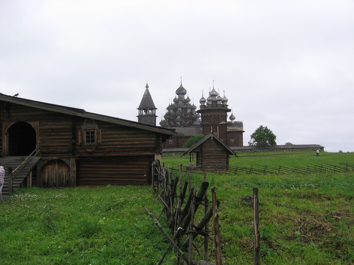 Wooden buildings on the island of Kizhi.