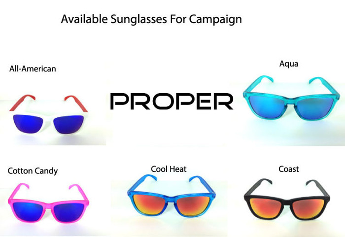 Available sunglasses for this campaign