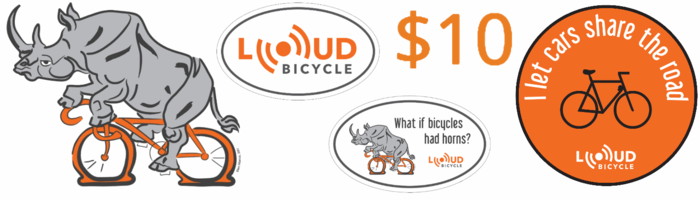 Show your support for bike-friendly cities with Loud Bicycle stickers.