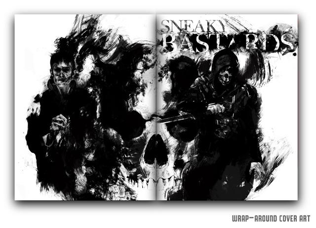 The magazine's wrap-around cover art illustration from artist A.J. Hateley, featuring Dishonored's characters Corvo Attano and The Outsider (Front cover is the right hand side, back cover is the left hand side; creating a seamless image when fully opened.