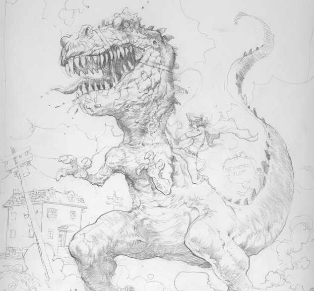 Production art...Evil Helga riding one of her Dinosaurs! Look out!!!