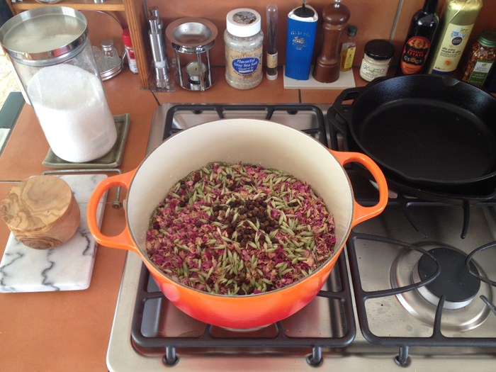 Simmering these herbs on a houseboat in Sausalito, the divine scent of rose petals wafted across the docks...