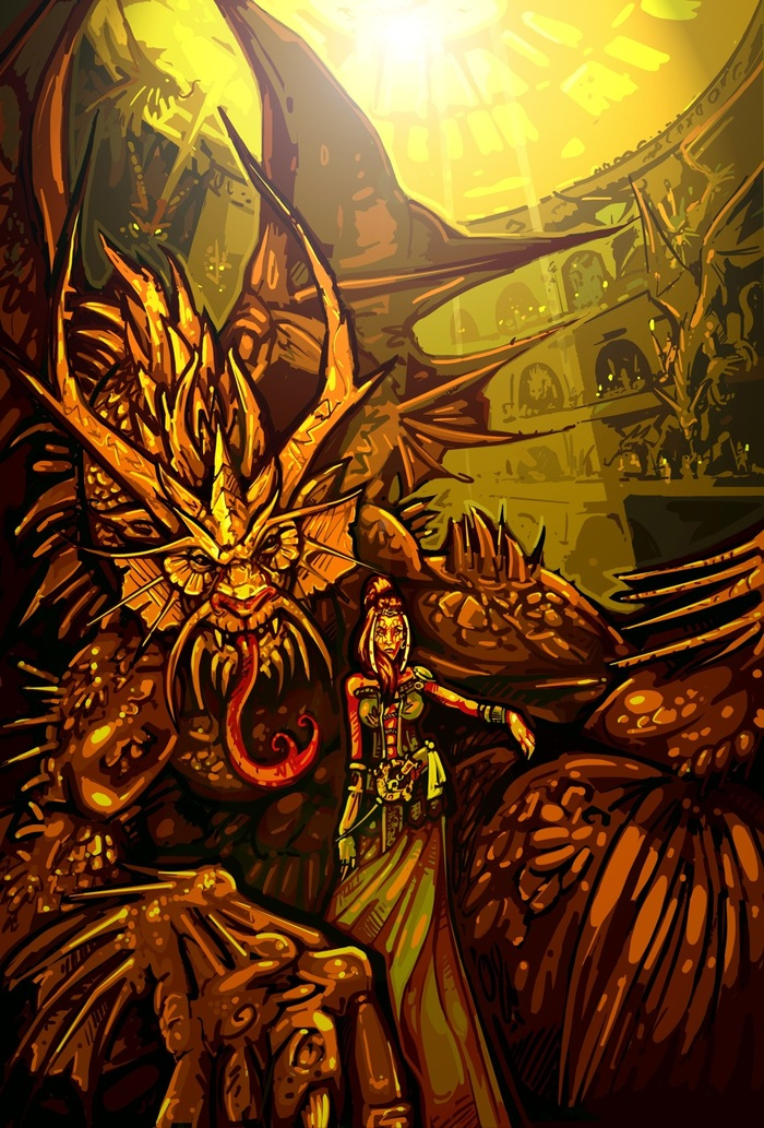 Concept art for the Old Dragon and his queen