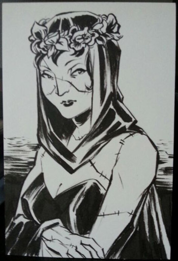 YASMIN LIANG Sketch Commission example: 4x6 Bristol Board, inks, single character (your choice)