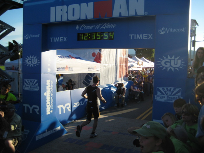 Crossing the finish line of the 2012 Coeur d'Alene Ironman.