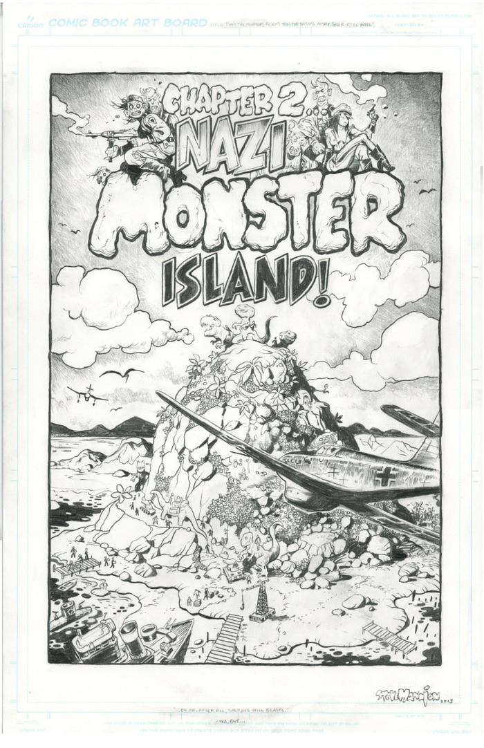"Great original splash page ""Monster Island"" reward above-$200!"