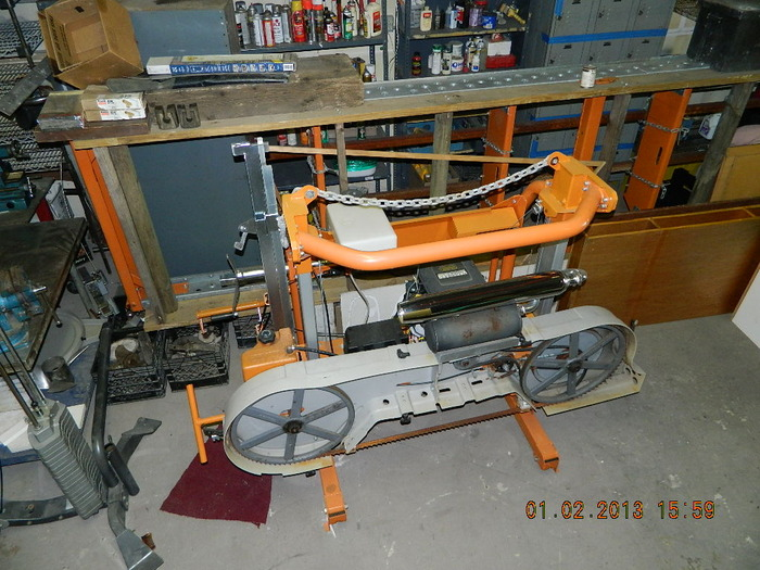 "32"" 23 HP Fat Boy Harley Muffled Band Saw... For the Stump Slicen."