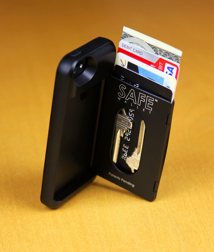 BulletTrain SAFE Wallet Shown in Stealth BLACK With House Keys