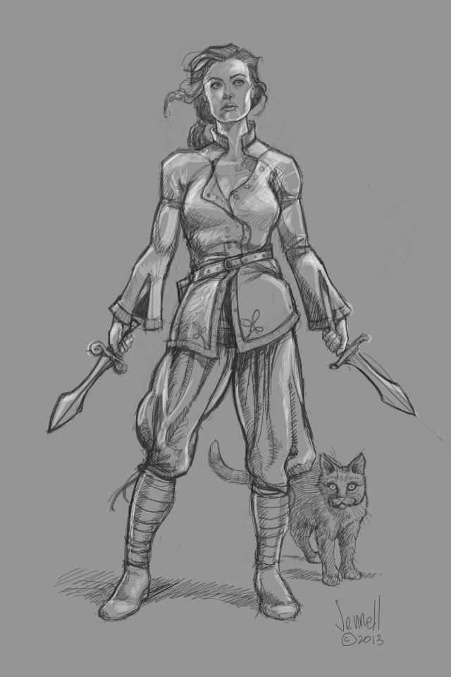 Kadyn is a reborn Mage.  Jin, a magical shape-shifting Sailee, is pictured here as a grey cat.
