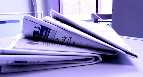 We just like this picture of newspapers because it's purple