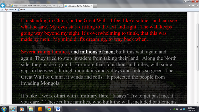 Great Wall of China Text Example