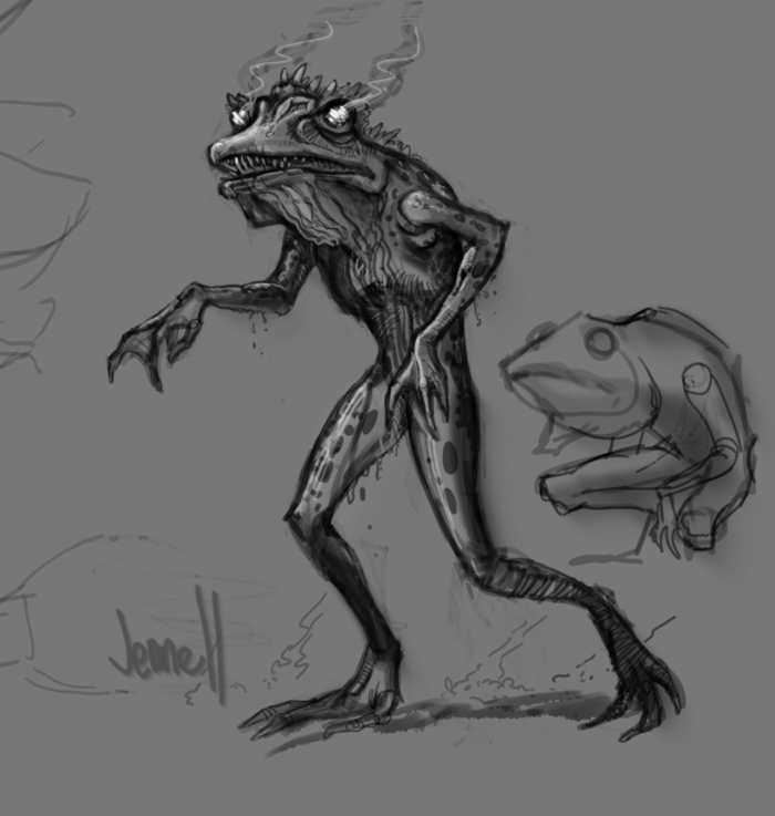 Fire Frogs are much taller than Humans and Elves, and won't hesitate to swallow a person whole.