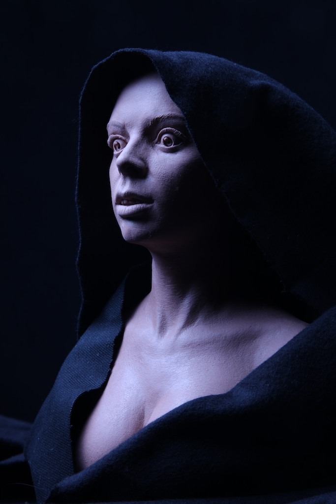 The Witch of the Mill. This restless spirit will be voiced by horror legend Barbara Steele. (Sculpture by Mitch Devane).