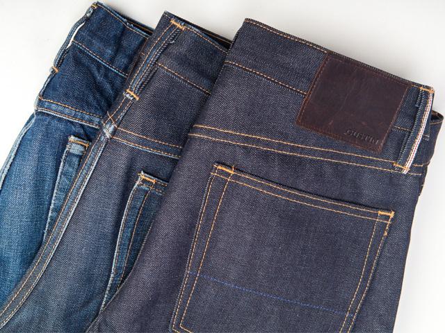 GUSTIN denim at three stages of wear - new, 6 months, 1.5 years