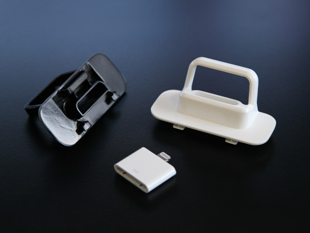Our Black and White Flybridge prototypes with the Apple 30-pin to Lightning connector