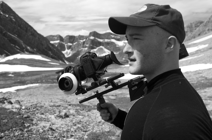 Director of Photography Sasha Joseph Neulinger on one of Ryan's expeditions in the Canadian Rockies