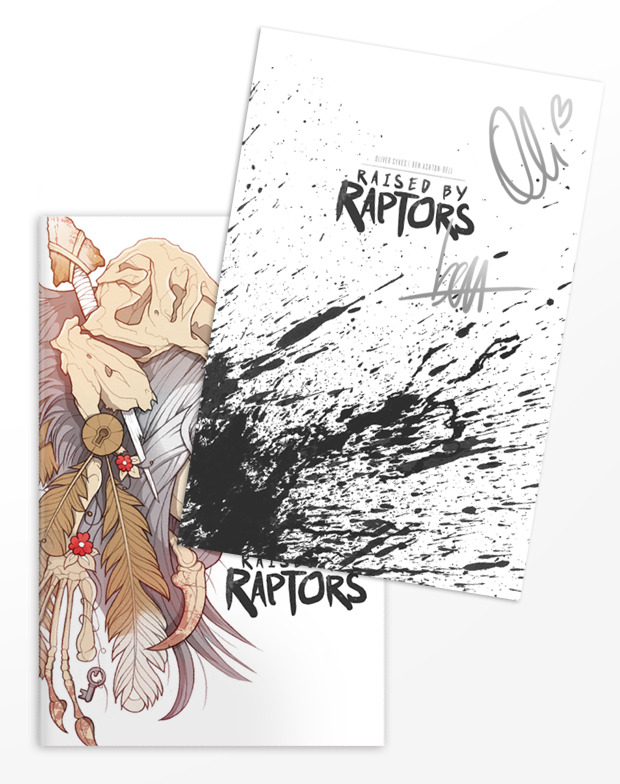 You will receive a copy of Raised by Raptors Issue No.1 - First Edition with Insert Signed by Oli & Ben + the Backgrounds Pack + the PDF Pack + Behind the Scenes Pack.
