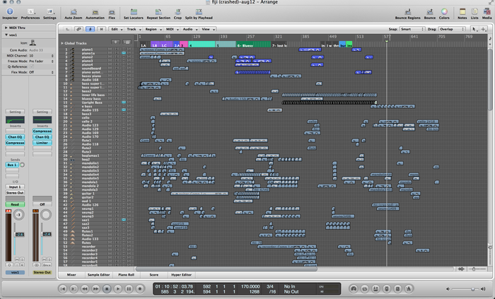 A typical view of a song project, this one with 170+ tracks.  Any wonder I'm having trouble mixing this myself?
