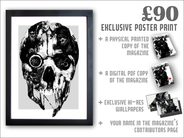 This poster features a unique Dishonored illustration from artist A.J. Hateley, and is printed at A3 size on high-quality card stock.