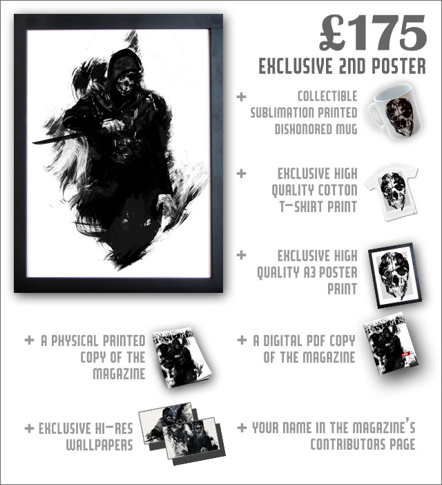 Both posters feature unique Dishonored illustrations from artist A.J. Hateley, and are each printed at A3 size on high-quality card stock.