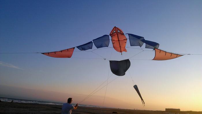 MiniMothra kite arch on Mustang Island, TX