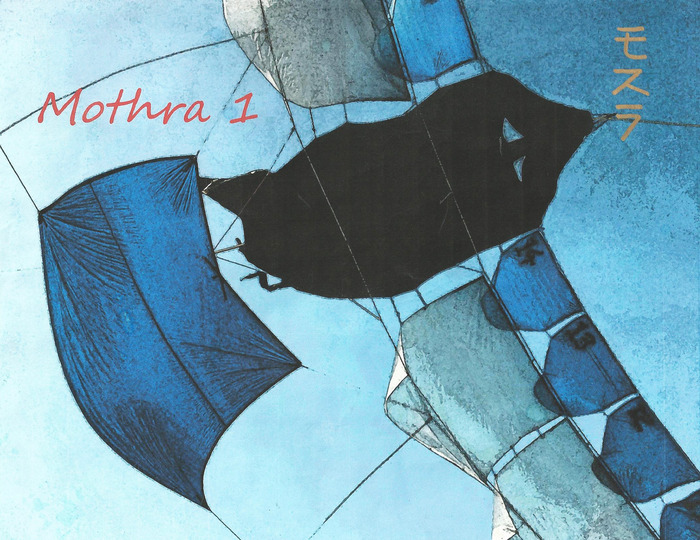 Mothra1 Poster with Calligraphy by Japanese Kite Master, Mikio Toki