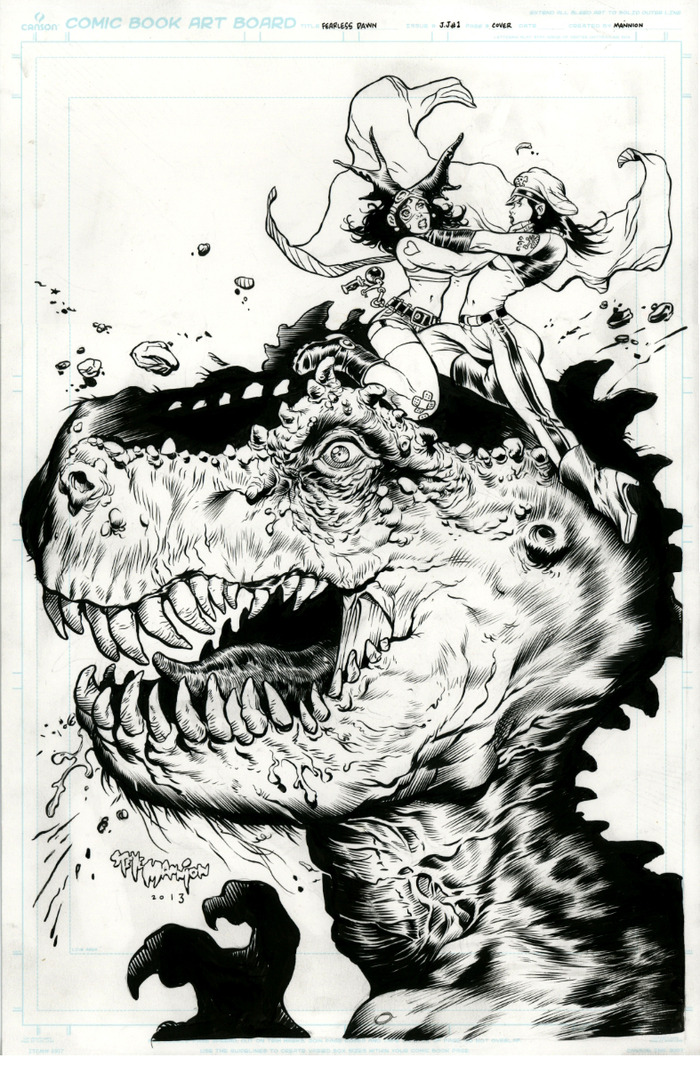 This Big Dino Head pin up will appear in the back section of the book. Original art no longer available-Pledged up!