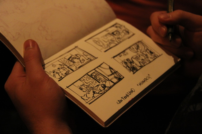 Story boarding on location (Toby Cochran)