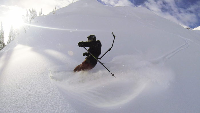 Beta tester Abe Kislevitz in action in Whistler.