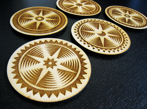 Set of 5 Wooden Coasters -- Add $20 ($25 international)