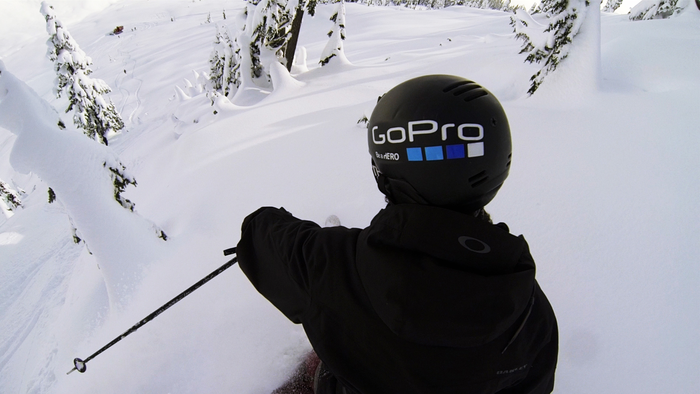 Abe Kislevitz testing the camera mount in deep powder.