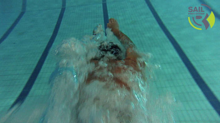 Testing the camera mount on a swimmer while diving.