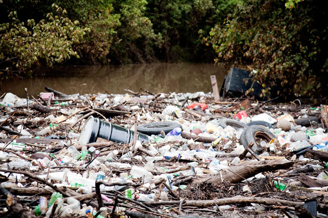 Trash collects at a tributary below Atlanta.