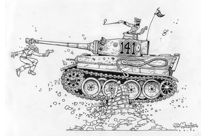 Fearless Dawn vs Helga's Tiger Tank Original Art Reward!