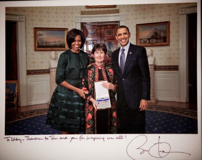 Libby Little receiving the Medal of Freedom by Michelle and Barack Obama