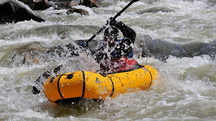 Completing the Learn to Packraft! Video Course Series will give you the tools you need to navigate complex and technical whitewater, such as the famous Mad Mile of the Gallatin River. Here, Ryan Jordan paddles through the House Rock Rapid.
