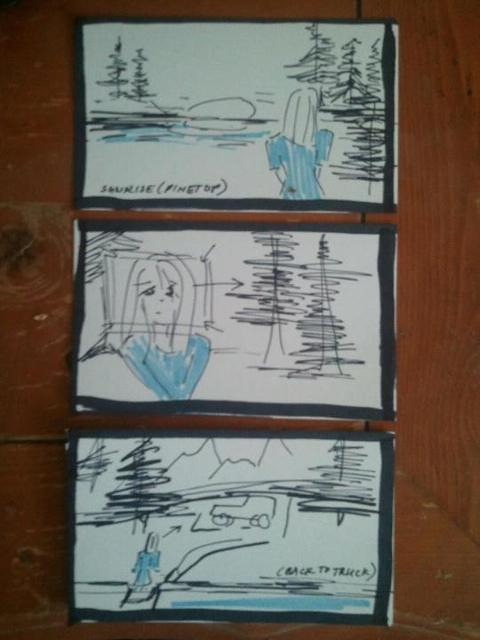 Storyboard of a forest scene, to be shot in Payson, AZ...