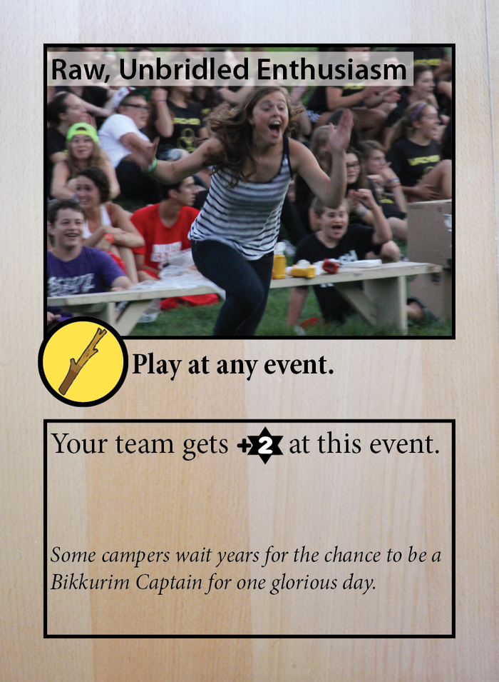 Other Shtick cards might have some limitations on when you can play them; you might need a staff member with a specific skill, or you might need to be at a specific event.  You can play this card anywhere -- enthusiasm always helps!