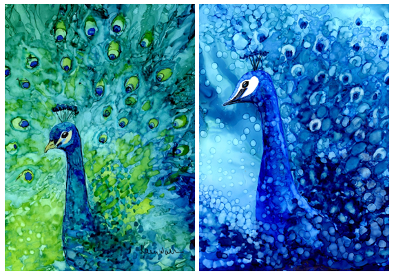"Two newly created 5"" x 7"" paintings, available for The Peacock Project"