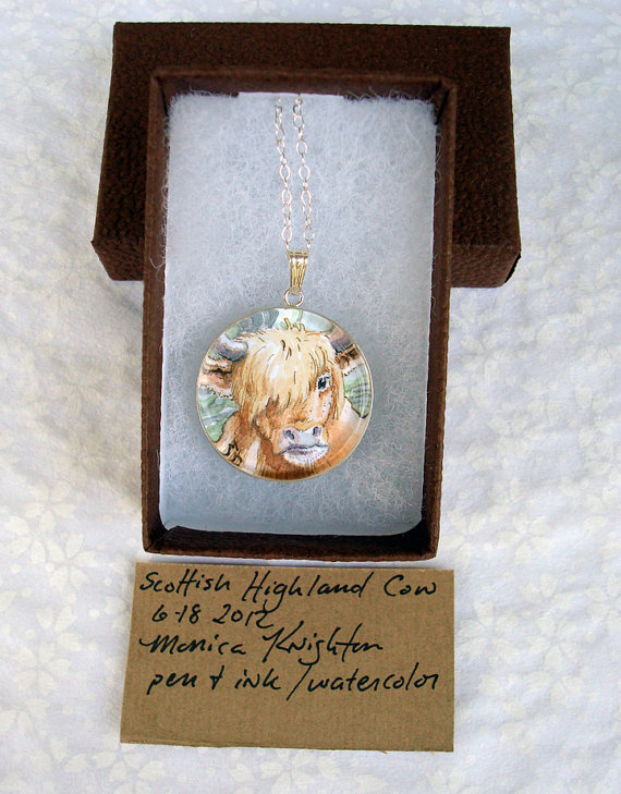 Highland Cow original art pendant