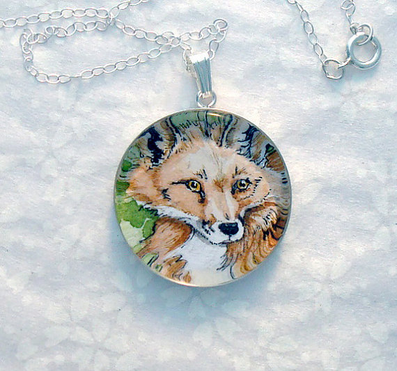 Red Fox original art pendant
