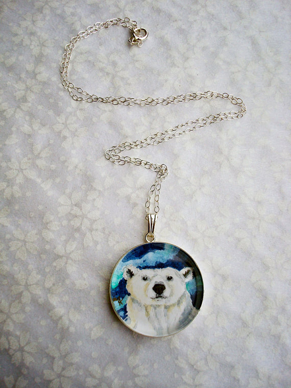 Polar Bear original art pendant