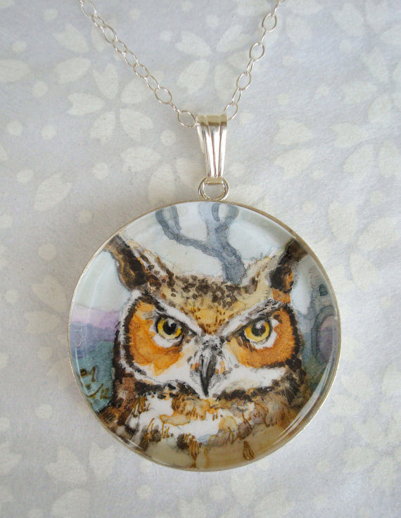 Horned Owl original art pendant