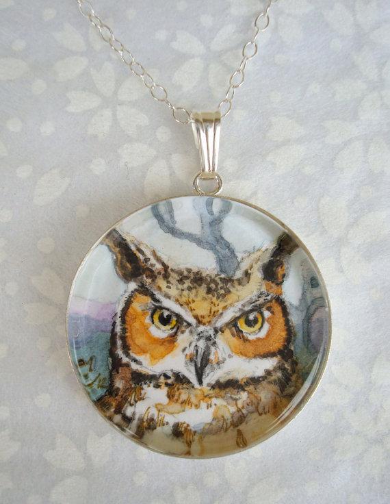 Horned Owl original art pendant