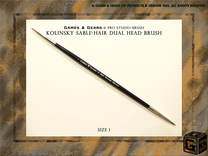 Games & Gears Pro Studio Brush Size 1. Our Standard miniature brush for 28mm to 32mm.