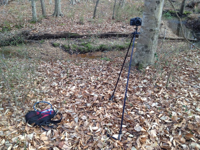 2 pole configuration with DSLR mounted - rope attached to camelbak