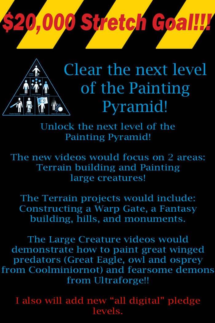I will create some new pledge levels to reflect these new videos, as well as introduce the all digital download pledges.