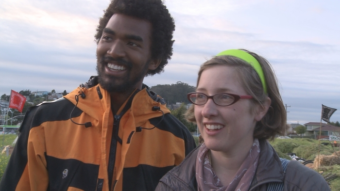 Ashoka Finley and Anya Kamenskaya at Occupy the Farm, April 25